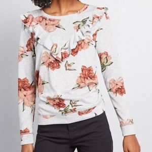 ModCloth Floral Ruffle Sweater